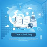 Task Scheduling Template Web Banner With Copy Space. Vector Illustration Stock Photos