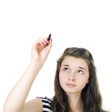 Task solution. Portrait of the young girl on the isolated white background Stock Photos