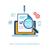 Taskverwaltung und flache Ikonen der Check-Liste Stockfotografie