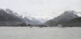 tasman冰河冰山湖的融解 免版税库存照片
