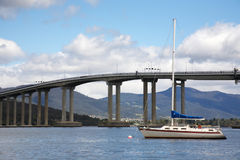 Tasman Bridge in Hobart city. Tasman Bridge over the Derwent River in Hobart, Tasmania Stock Photo