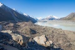 Tasman glaciär, Mt.-kocknationalpark Arkivbilder