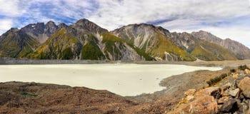 Tasman Glacial Lake, Mt. Cook, NP,  New Zealand. Glacial Tasman Lake and mountains. Mt. Cook National Park. Canterbury, New Zealand landscape Royalty Free Stock Images