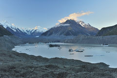Tasman glacier and glacier lake Stock Photography