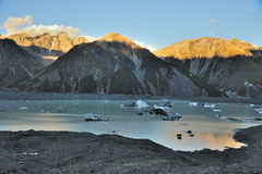Tasman glacier and glacier lake Royalty Free Stock Images