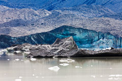 Tasman Glacier Lake icebergs in Aoraki Mt Cook NP Royalty Free Stock Photography