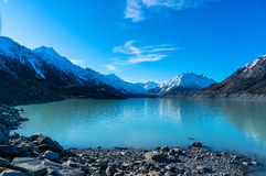 Tasman glacier and lake with turquoise blue water and mountains Royalty Free Stock Image