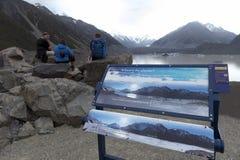 Tasman Glacier viewpoint, Aoraki / Mount Cook National Park, New Zealand Stock Photos