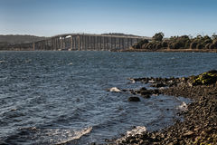 Tasman Highway Bridge over Derwent River, Hobart Australia. Hobart, Australia - March 19. 2017: Tasmania. Closer look on the long, high Tasman Highway Bridge on royalty free stock photos