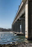 Tasman Highway Bridge over Derwent River, Hobart Australia. Hobart, Australia - March 19. 2017: Tasmania. Shot along the succession of pillars of the long, high stock photography