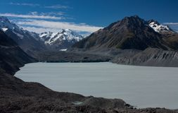 The Tasman Lake by the Tasman Glacier in the Aoraki / Mt. Cook National Park in the South Island in New Zealand. The Tasman Lake by the Tasman Glacier in the stock photos