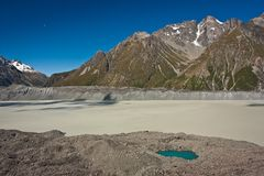 Tasman Lake in Mt. Cook national park in New Zealand. Milky glacial water lake with little blue pond, beauty of natural Zealand royalty free stock image