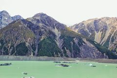 Tasman Lake, New Zealand. Stock Photos