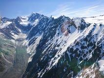 Tasman mountain with glacier Helicopter view New Zealand Stock Photos