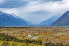 Tasman River at Aoraki Mount Cook National Park Royalty Free Stock Image