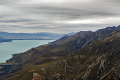 The Tasman River in Aoraki / Mount Cook National Park, flowing through the wide flat-bottomed Tasman Valley in the Southern Alps a Royalty Free Stock Photos