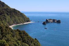Tasman Sea from Knights Point Lookout, New Zealand. View from Knights Point Lookout near Haast on the West Coast of South Island, New Zealand. There are rocks stock photography