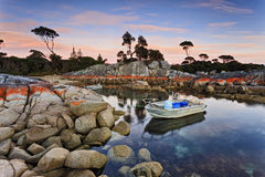 Tasmania Bnalong Bay 2 Boats Stock Photos