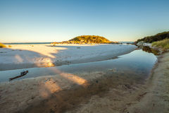 Tasmania East Coast. White Taylors Beach is reflected in the sea, East Coast of the Bay of Fires in Tasmania, Australia stock photo