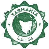 Tasmania map vintage stamp. Retro style handmade label, badge or element for travel souvenirs. Dark green rubber stamp with island map silhouette. Vector royalty free illustration