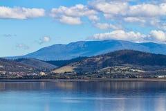 Tasmania mountains. Scenic view of the sea and Mount Wellington in Tasmania Royalty Free Stock Photo
