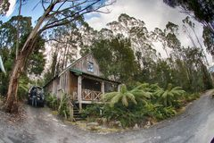 Tasmania rural wooden house. Cradle mountain Royalty Free Stock Photography