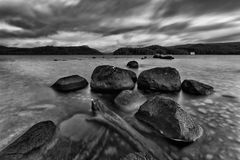 Tasmania St Clair Stones Rise BW Royalty Free Stock Photography