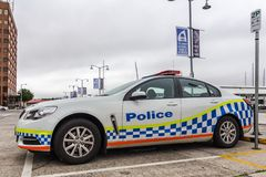 Tasmanian police car parked on the street near Hobart CBD. Constitution dock, Hobart, Australia - December 12 2019: Tasmanian police car parked on the street royalty free stock image