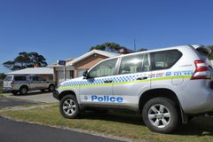 Tasmanian Autralian Police Station Vehicles royalty free stock images