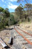 Tasmanian Railway. A disused and rusted railway line in Tasmania Australia royalty free stock image