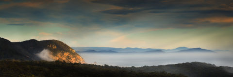 Tasmanian sunrise. Panoramic landscape view of a sunrise in Tasmania Stock Image