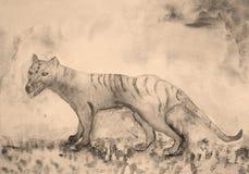 Tasmanian tygrys w sepiowych brzmieniach Zdjęcia Stock