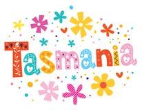 Tasmanien, das dekorative Art beschriftet lizenzfreie abbildung