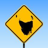 Tasmanien-Karte auf Verkehrsschild lizenzfreie abbildung