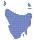 Tasmanige Australië Dot Map In Blue Stock Afbeelding