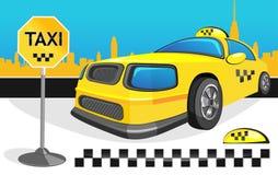 Tassì giallo dell'automobile Immagine Stock Libera da Diritti