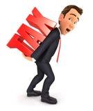 tassa pesante dell'uomo d'affari 3d illustrazione di stock