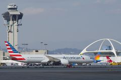 Tassazione di American Airlines Dreamliner Immagini Stock Libere da Diritti