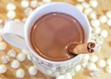 Tasse élégante de Noël de chocolat chaud avec des bâtons de cannelle et Photographie stock libre de droits