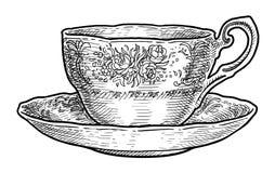 Tasse antique de porcelaine d'illustration de thé, dessin, gravure, encre, schéma, vecteur illustration de vecteur