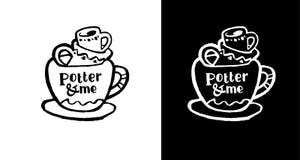 Tasse avec des tasses Patern Logo noir d'encre de calligraphie Photo stock