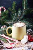 Tasse avec la table en bois de neige de chocolat chaud Photo stock