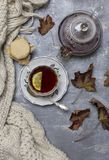 Tasse avec le thé noir et le citron et la soucoupe, la cuillère, la gelée dans le pot, les feuilles d'érable et l'écharpe tricoté photographie stock libre de droits