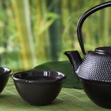 Tasse avec le thé vert avec la bouilloire noire de porcelaine sur le fond de tache floue de nature Fin vers le haut Image libre de droits