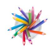 Tasse avec les crayons colorés Images libres de droits
