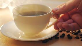 Tasse blanche de cuire la boisson à la vapeur chaude sur le fond des grains de café Photos libres de droits