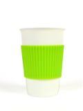 Tasse blanche de porcelaine avec la douille thermo photos libres de droits