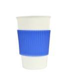 Tasse blanche et bleue de porcelaine sur le blanc photos libres de droits