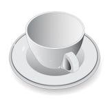 Tasse blanche sur le fond blanc, illustration de vecteur Images stock