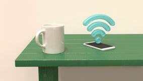 Tasse blanche sur le téléphone et l'icône futés 3d bleu de table verte du wifi 3d rendre illustration libre de droits